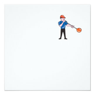 Glassblower Glassblowing Isolated Cartoon 5.25x5.25 Square Paper Invitation Card