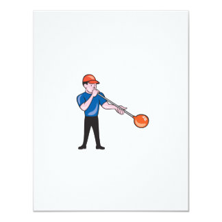 Glassblower Glassblowing Isolated Cartoon 4.25x5.5 Paper Invitation Card
