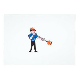 Glassblower Glassblowing Isolated Cartoon 5x7 Paper Invitation Card