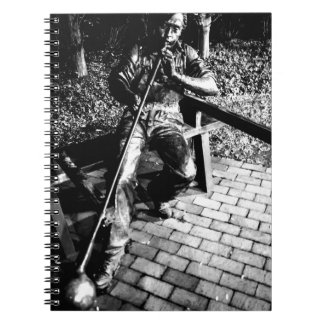 Glassblower in Black and White Spiral Notebook