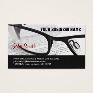 Glasses and Book business card