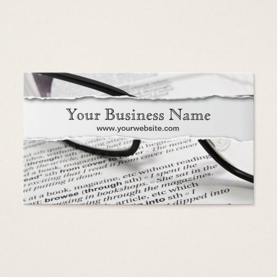 Glasses and Book Ripped business card