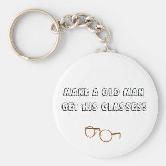 Glasses Basic Round Button Keychain