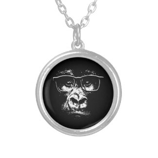 Glasses Gorilla Silver Plated Necklace