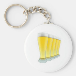 Glasses of Beer Basic Round Button Keychain