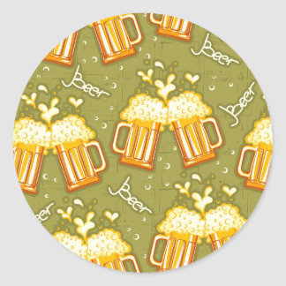 Glasses Of Beer Pattern Classic Round Sticker