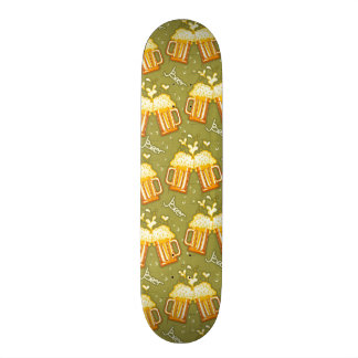 Glasses Of Beer Pattern Skateboard Deck