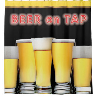 Glasses of Beer with Neon Sign BEER ON TAP Shower Curtain