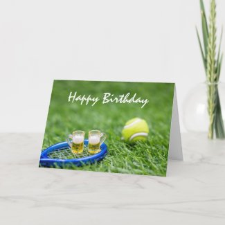 Glasses of beer with tennis ball birthday card