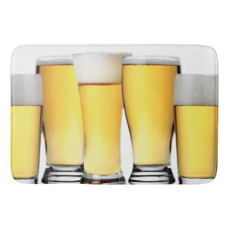 Glasses of Ice Cold Beer Bathroom Mat