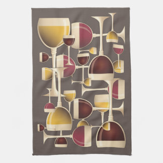Glasses of Red and White Wine Kitchen Towel