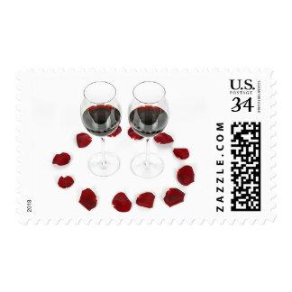 Glasses of Red Wine Rose Petals Romantic Stamp