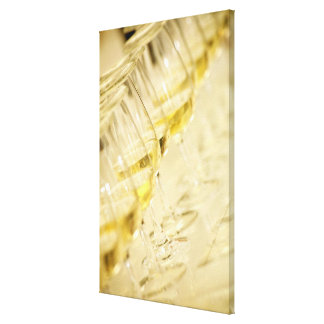 Glasses of white wine for wine tasting, close up canvas print