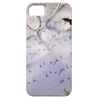 Glasses, pen and mathematical symbols on paper, iPhone SE/5/5s case