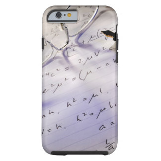 Glasses, pen and mathematical symbols on paper, tough iPhone 6 case