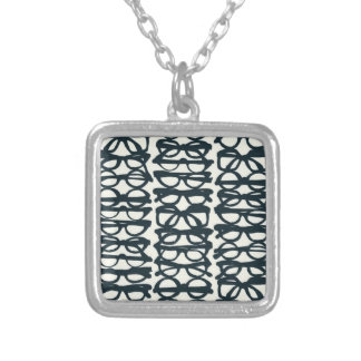 Glasses Print Silver Plated Necklace