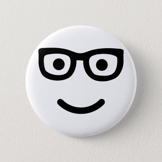 Glasses Smiley geek nerd Pinback Button