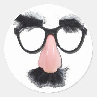 GlassesMustacheEyebrows090411 Pegatina Redonda