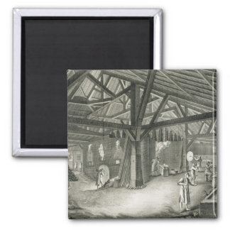 Glassmaking factory, from the 'Encyclopedia' by De 2 Inch Square Magnet