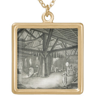 Glassmaking factory, from the 'Encyclopedia' by De Gold Plated Necklace