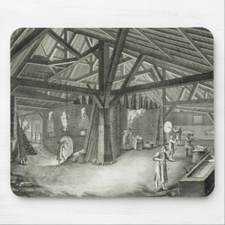 Glassmaking factory, from the 'Encyclopedia' by De Mouse Pad