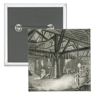 Glassmaking factory, from the 'Encyclopedia' by De Pinback Button