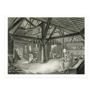 Glassmaking factory, from the 'Encyclopedia' by De Postcard