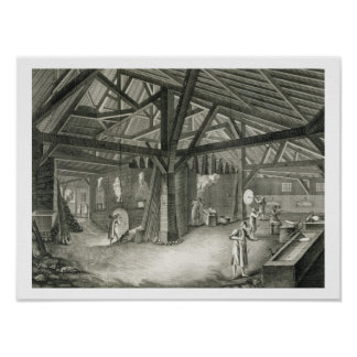 Glassmaking factory, from the 'Encyclopedia' by De Poster