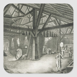 Glassmaking factory, from the 'Encyclopedia' by De Square Sticker