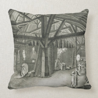 Glassmaking factory, from the 'Encyclopedia' by De Throw Pillow