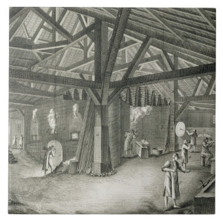 Glassmaking factory, from the 'Encyclopedia' by De Tile