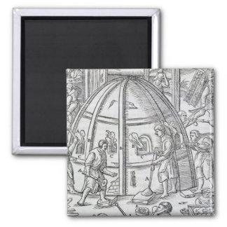 Glassworks, illustration showing the marble furnac 2 inch square magnet
