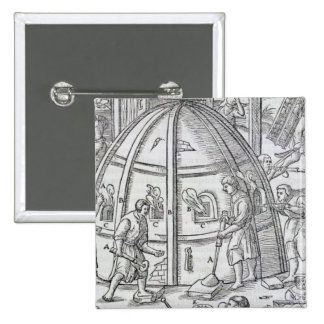 Glassworks, illustration showing the marble furnac 2 inch square button