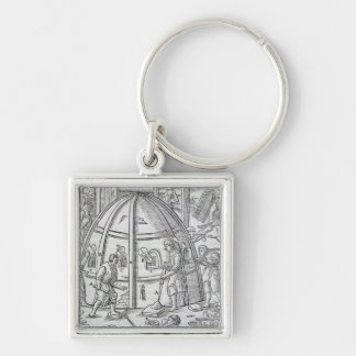Glassworks, illustration showing the marble furnac Silver-Colored square keychain