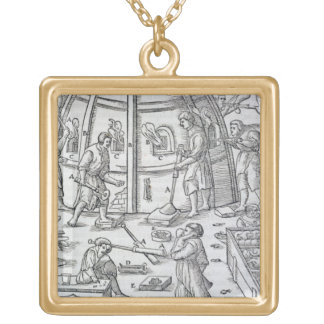 Glassworks, illustration showing the marble furnac square pendant necklace
