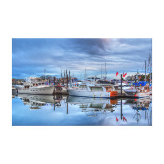 glassy boats stretched canvas prints