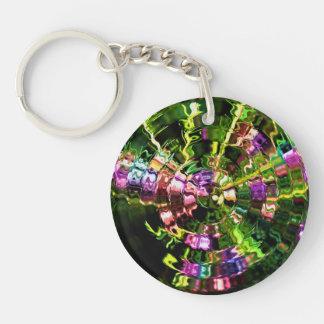 Glassy Green Ripples Abstract Acrylic Key Chain
