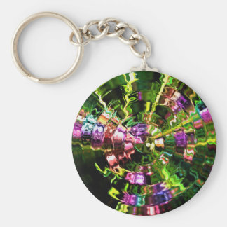 Glassy Green Ripples Abstract Key Chains