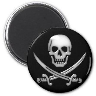Glassy Pirate Skull & Sword Crossbones 2 Inch Round Magnet