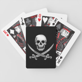 Glassy Pirate Skull & Sword Crossbones Bicycle Playing Cards