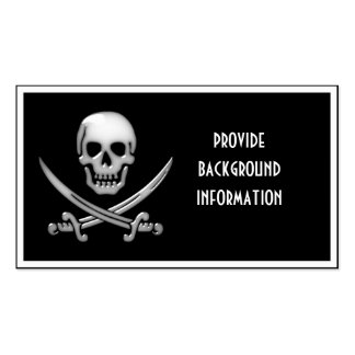 Glassy Pirate Skull & Sword Crossbones Double-Sided Standard Business Cards (Pack Of 100)