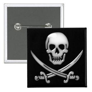 Glassy Pirate Skull & Sword Crossbones Button