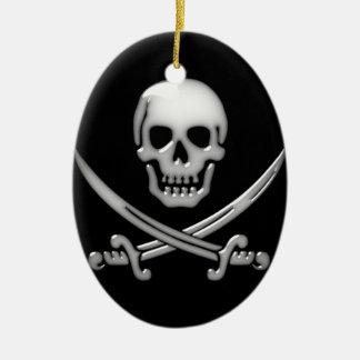 Glassy Pirate Skull & Sword Crossbones Ceramic Ornament