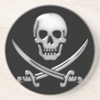 Glassy Pirate Skull & Sword Crossbones Beverage Coasters