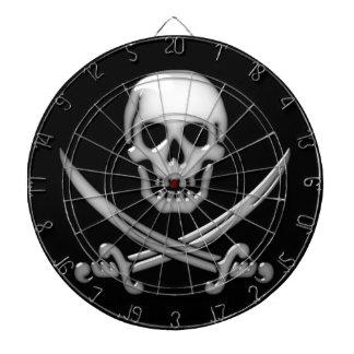 Glassy Pirate Skull & Sword Crossbones Dartboard With Darts