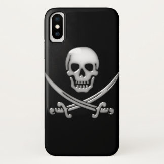 Glassy Pirate Skull & Sword Crossbones iPhone X Case