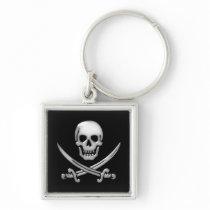 Glassy Pirate Skull & Sword Crossbones Keychain