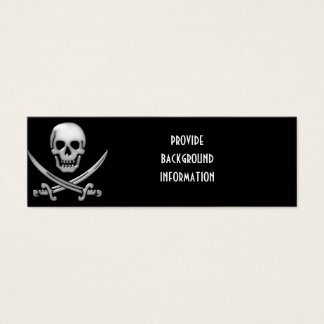 Glassy Pirate Skull & Sword Crossbones Mini Business Card