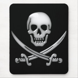 Glassy Pirate Skull & Sword Crossbones Mouse Pads