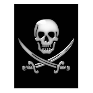 Glassy Pirate Skull & Sword Crossbones Postcard